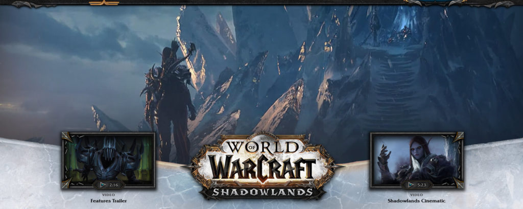 Shadowlands world of warcraft portal for guild websites